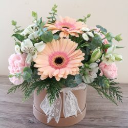 Candy Pink Gerbera Hat Box